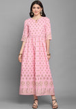 Pink Rubi Cotton Foil Printed Gown