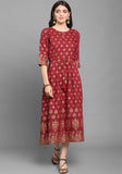 Maroon Rubi Cotton Foil Printed Gown