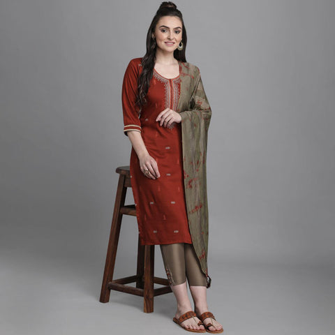 Brown Chinon Embroidered Straight Cut Suit
