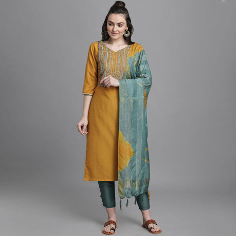 Mustard Chinon Embroidered Straight Cut Suit