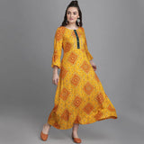 Mustard Heavy Rayon Foil Printed Gown
