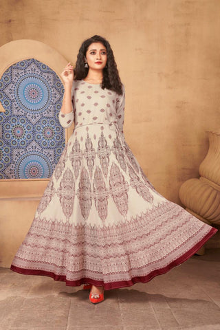 Designer Heavy Rayon Foil Printed Gown