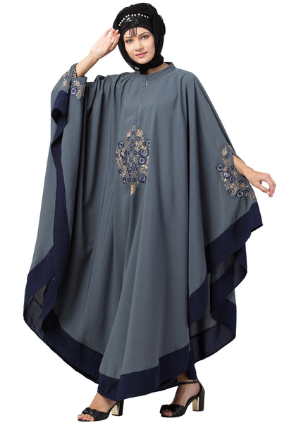 Grey and Navy Blue Matt Nida Center Embroidered with Contrast band Irani Kaftan