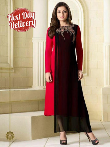 Black and Red Embroidered Georgette Kurti with Inner