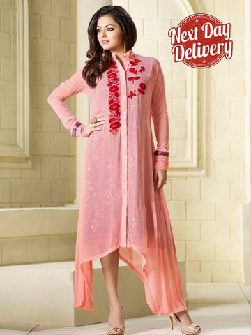 Coral Pink Embroidered Georgette Kurti with Inner