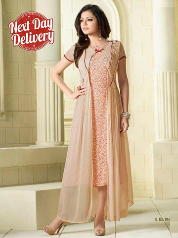Beige Embroidered Georgette Kurti with Inner