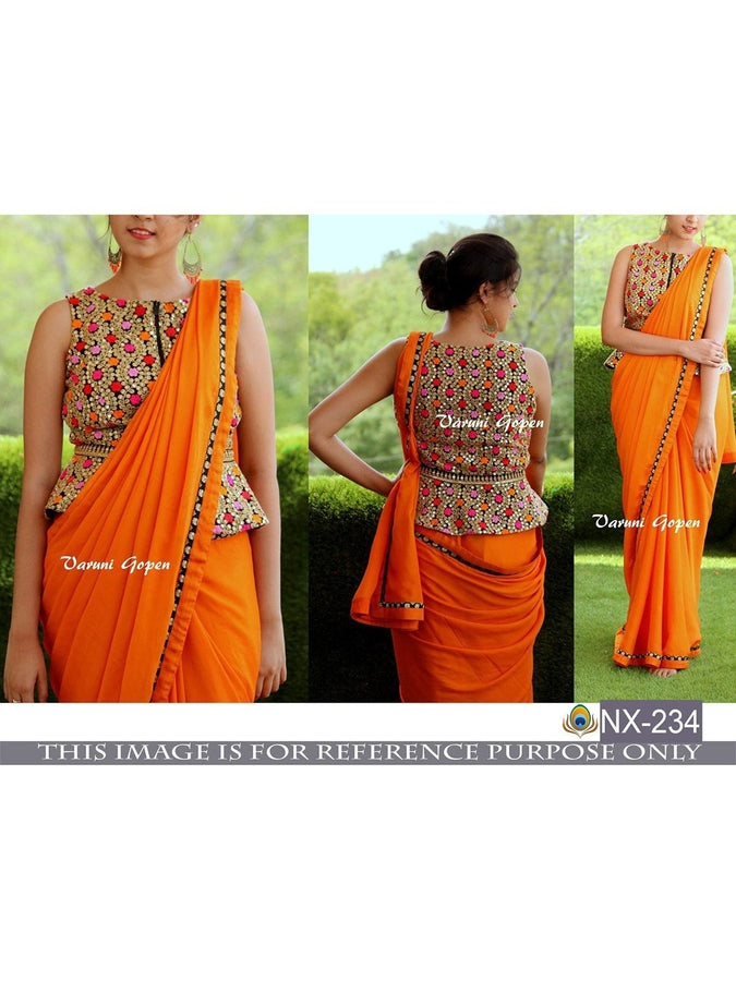 Design; Trend Mark Attractive Designer Indian Bollywood Saree Yellow Orange Pedding Party Wear Sari Novel In