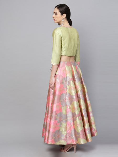 Pink and Green Silk Lehenga with Blouse