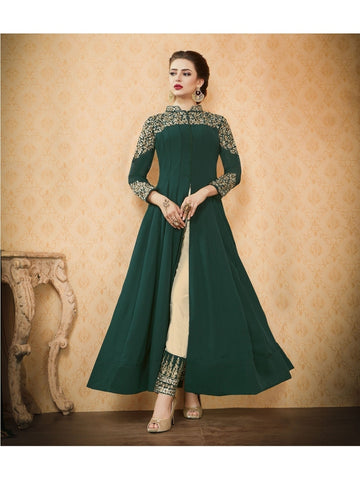 Festive collection of Beautiful Georgette Green Heavy Zari and Resham Embroidered Anarkali Suit
