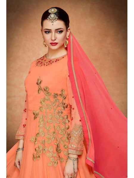 Festive collection of Beautiful Georgette Orange Heavy Zari and Resham Embroidered Anarkali Suit