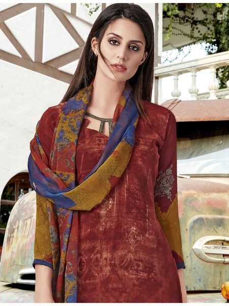 Designer Maroon Color Printed Straight Cut Suit