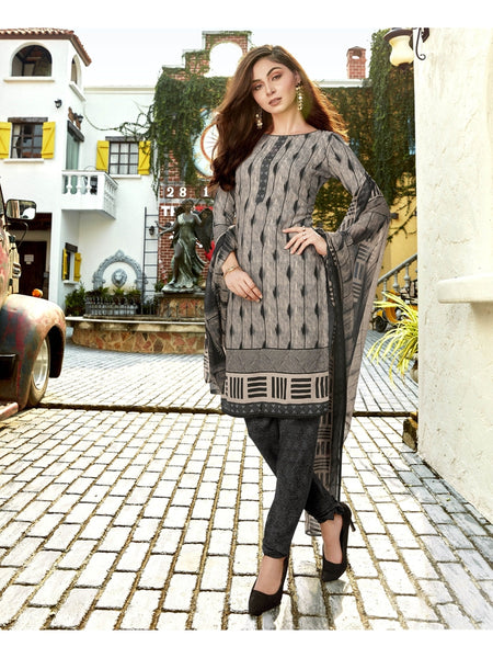 Designer Grey Color Printed Straight Cut Suit