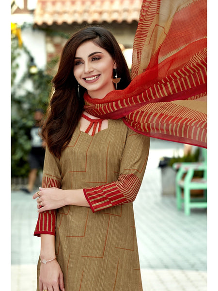 Designer Brown Color Printed Straight Cut Suit
