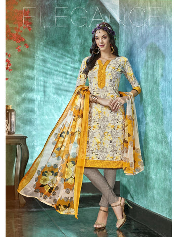 Designer and Beautiful Off  White & Yellow Color Straight Cut Suit