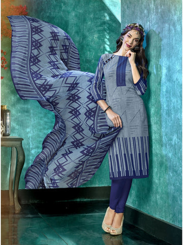Designer and Beautiful Grey & Blue Color Straight Cut Suit
