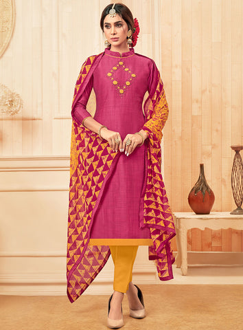 Pink Cotton Slub Straight Cut Suit