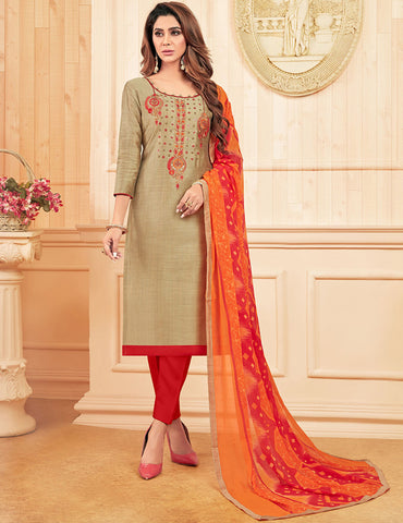 Beige Cotton Slub Straight Cut Suit
