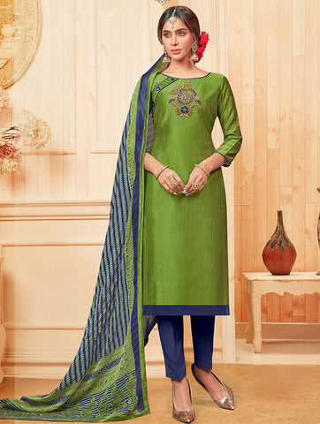 Green Cotton Slub Straight Cut Suit