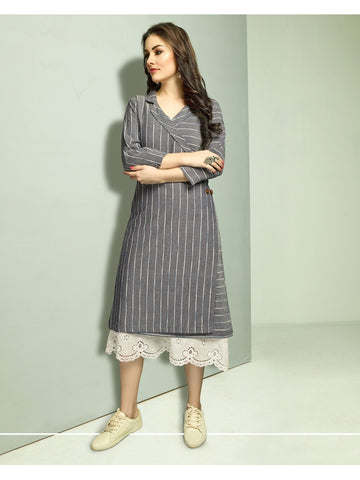 Designer Cream Color Long Straight Cut Kurti with Jacket