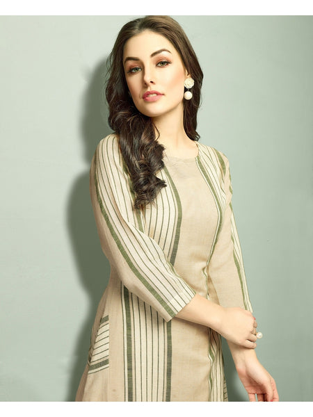 Designer White Color Long Straight Cut Kurti with Jacket