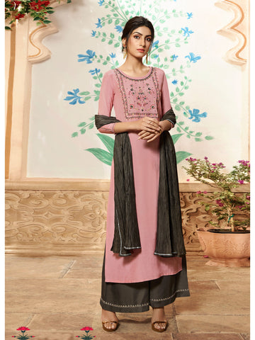Designer and Beautiful Baby Pink Color Straight Cut Kurti with Palazzo Bottom