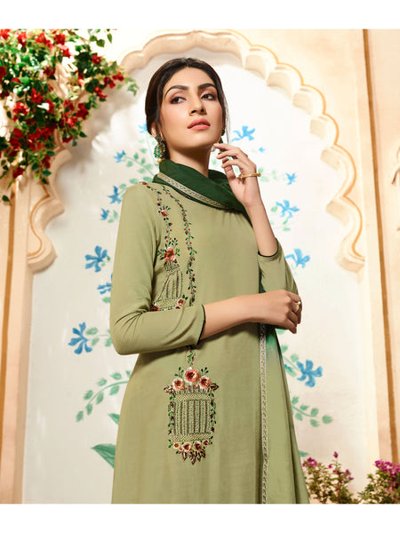 Designer and Beautiful Light Olive Green Color Straight Cut Kurti with Palazzo Bottom