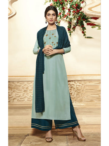 Designer and Beautiful Light Turquoise Color Straight Cut Kurti with Palazzo Bottom