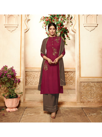 Designer and Beautiful Maroon Color Straight Cut Kurti with Palazzo Bottom