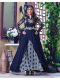 Heavy Zari and Resham Embrodiered Navy Blue Suit With Chiffon Dupatta