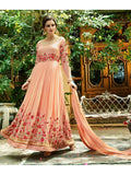Heavy Zari and Resham Embrodiered Peach Suit With Nazneen Dupatta