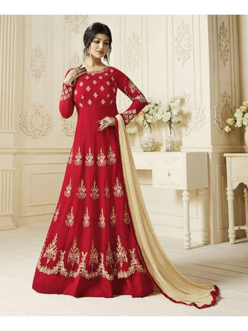 Ravishing Red Embroidered Georgette Anarkali Suits
