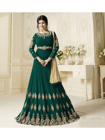Ravishing Green Embroidered Georgette Anarkali Suits