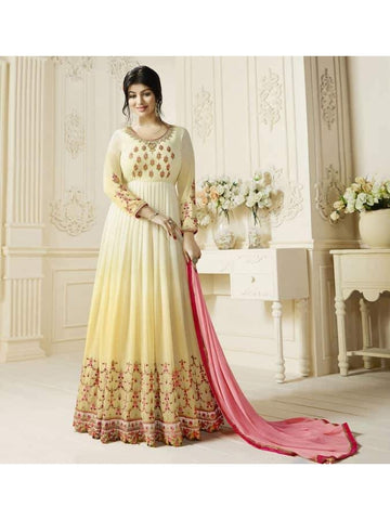 Ravishing Cream & Yellow Embroidered Georgette Anarkali Suits