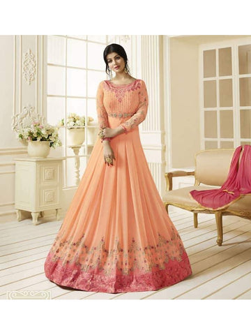 Ravishing Peach & Pink Embroidered Georgette Anarkali Suits