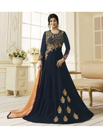 Ravishing Navy Blue Embroidered Georgette Anarkali Suits