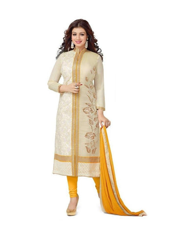 Cream and Yellow Designer Chanderi Cotton Embroidered Suit