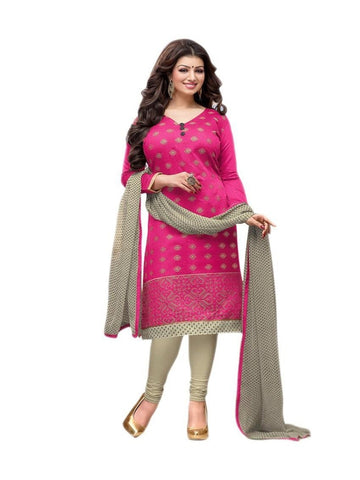 New Desinger Pink and Cream Chanderi cotton Embroidered Straight Cut Suit