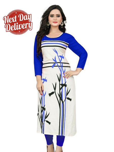 Beautiful Printed Blue Color Rayon Kurtis