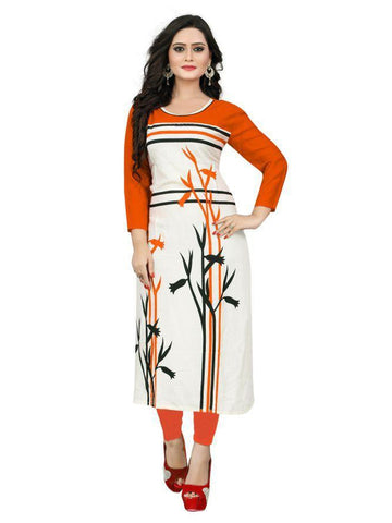 Beautiful Printed Orange Color Rayon Kurtis
