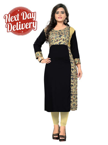 Designer Black Color Rayon Printed Straight Cut Kurti