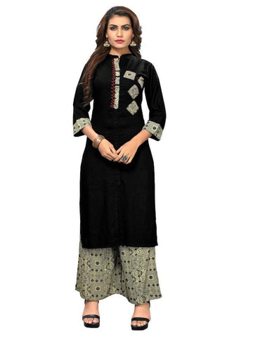 Designer Black Color Rayon Printed and Hand Work Straight Cut Kurti with Palazzo