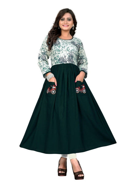 Designer Dark Green Color Embroidered With Printed Anarkali Flare Kurti
