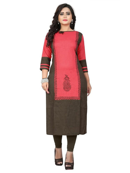 Designer Pink Color Printed Slub Cotton Straight Cut Kurti