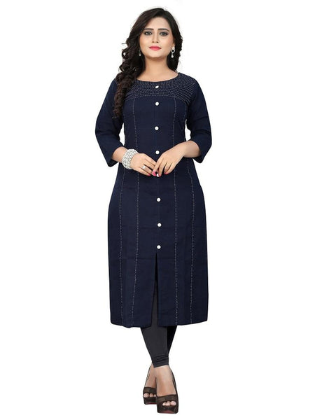 Designer Navy Blue Color Hand Work Cotton Straight Cut Kurti