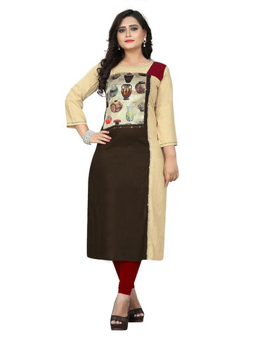 Designer Multi Color Printed and Hand Work Rayon Straight Cut Kurti