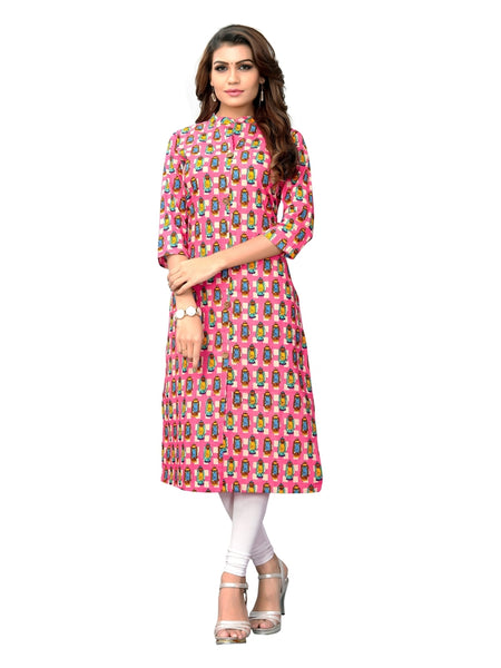 Designer Multi Color Printed Cotton Slub Straight Cut Kurti