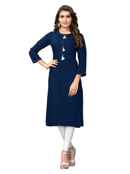 Designer Navy Blue Color Hand Work Rayon Straight Cut Kurti