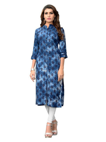 Designer Blue Color Hand Work Printed Rayon Straight Cut Kurti