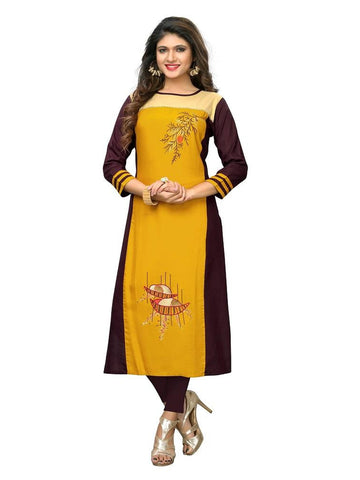 Designer Yellow Color Embroidered Rayon Straight Cut Kurti