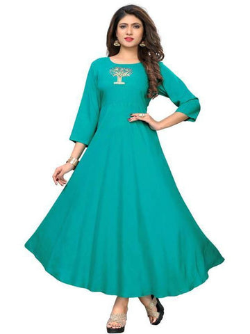 Designer Rayon Sky Color Embroidred Full flare Anarkali kurti